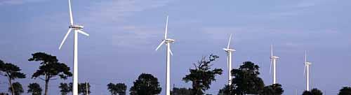 Wind turbines against the sky