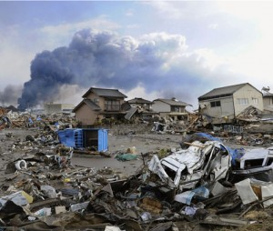 The scene after the tsunami hit Sendai in northern Japan; PA copyright