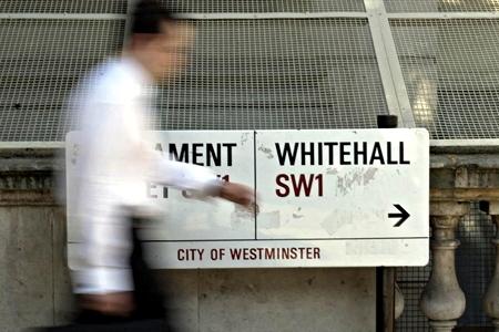 Whitehall street sign; PA Copyright