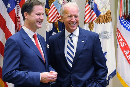 Deputy Prime Minister Nick Clegg and Vice President Joe Biden in September 2010