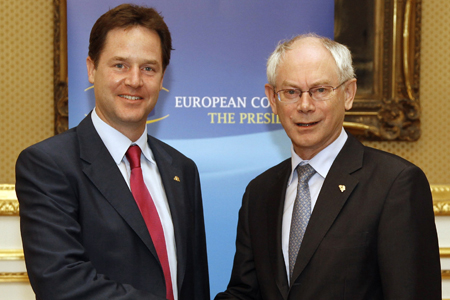 Nick Clegg with European Council President Herman Van Rompuy; PA copyright