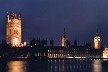 Parliament at night; PA copyright