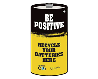 Picture of black and white battery with the words: 'Be positive: recycle your batteries here'