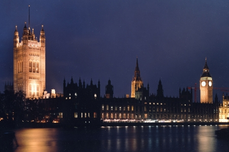 Parliament at night; PA copyright