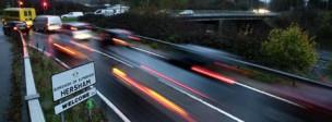 Road traffic by night