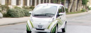 Electric car on road