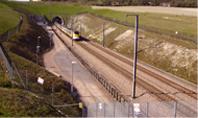 High speed rail train and tunnel