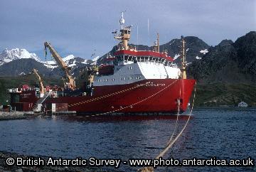 RRS Ernest Shackleton moored at King Edward Point, March 2001