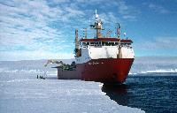 RRS Ernest Shackleton working whilst working with with HMS Endurance on fuel depot at Bedlam 2, Weddell Sea