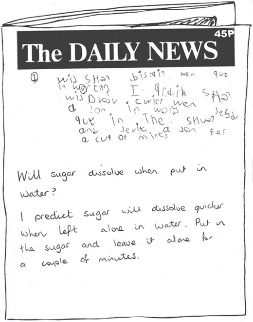 A newspaper template for The Daily News, which has been filled with a child's hand-written work