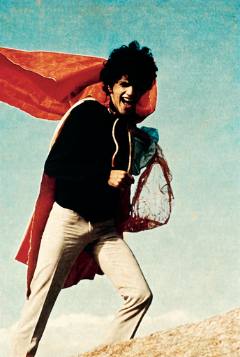 Singer and composer Caetano Veloso wearing Oiticica's P 04 Parangolé Cape 01 1964 in 1968