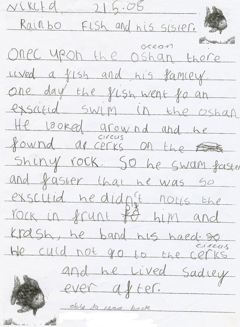 Pupil's handwritten story titled 'Rainbo fish and his sister'. The page is illustrated with two pictures of fish and annotated by a teacher.