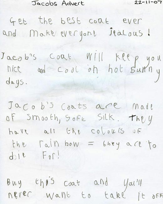 Pupil's handwritten persuasive writing, titled 'Jacobs Advert'