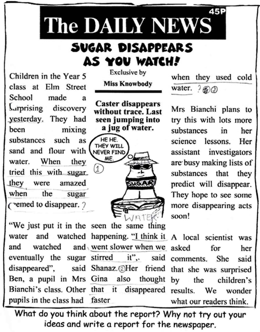 A handout (invented newspaper report) to support an investigation into the solubility of sugar