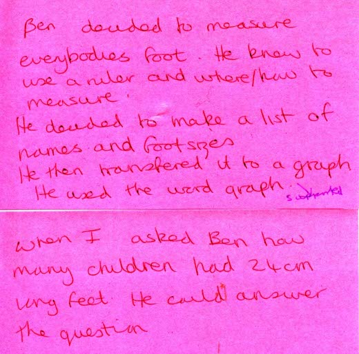 Handwritten note of a teacher's observation on Ben's ability to use a ruler, how to measure everyone's foot and make a graph on the data.