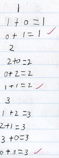 Handwritten note of Daniel's attempt to find different possibilities to determine total of 1, 2 and 3