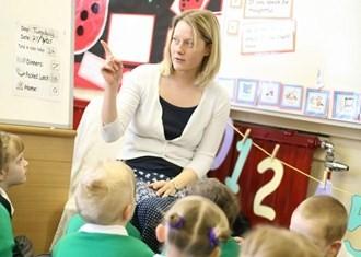 Female primary teacher in class