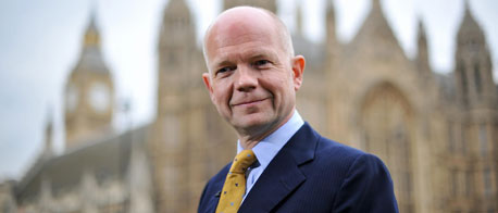 Foreign Secretary William Hague outside the Houses of Parliament (© Getty images)