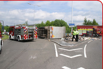 Photograph of a road traffic collisions involving a lorry on a roundabout