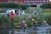 Firefighters carry out a swan rescue