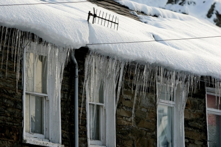 Winter weather, icicles, credit: PA