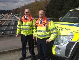 Traffic Officers Greg Wallen (Left) and Mick Hugill on patrol