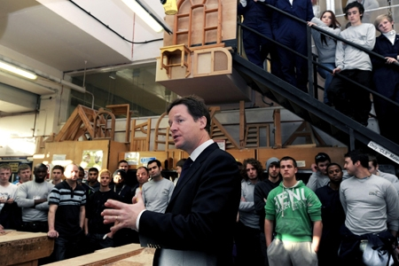 Nick Clegg outlines the Youth Contract to a group of young people.