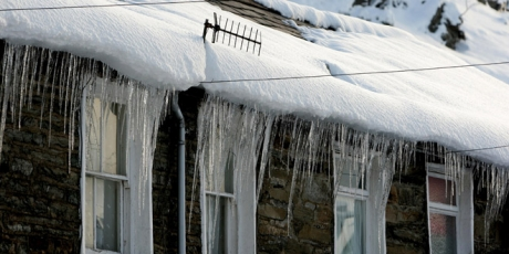 Icicles on a gutter in Wales