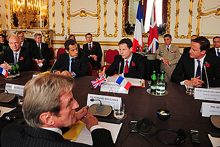 Deputy PM Nick Clegg chairs a meeting at the UK-France Summit; Crown copyright