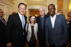PM and Michael Caine at Citizen Service reception at Downing Street; Crown copyright