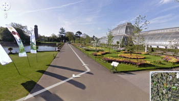 View of Kew's Palm House with Google Street View interface