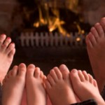 Warming feet by the fire
