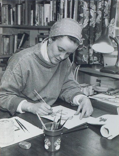 Ray Cowell at work on one of her illustrations