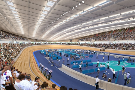 Render showing track action inside the Velodrome during the Games. Credit: ODA.