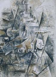 Georges Braque, Clarinet and Bottle of Rum on a Mantelpiece, 1911