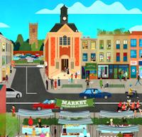 Illustration of a high street