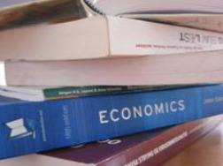 Stack of economics books