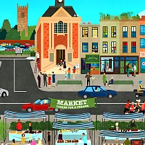 Illustration of a high street by Dermot Flynn