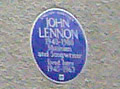 The blue plaque on the wall of Mendips, John Lennon's childhood home