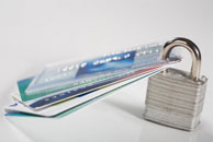 Credit cards with padlock.