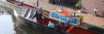 A boat moored in Brindley Place Birmingham