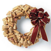 Christmas wreath made from used corks