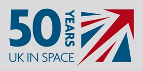 UK 50 years in space logo