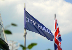 City Hall flag outside the building