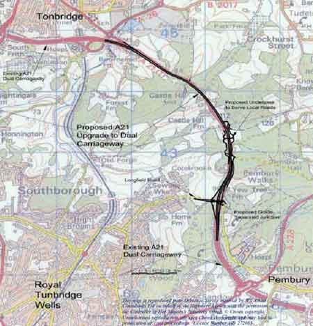 Map of A21 Tonbridge to Pembury Scheme