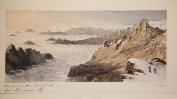 Watercolour of Everest by Fitch from Hooker sketch