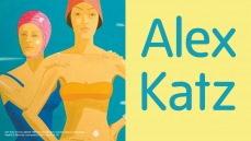 Exhibition banner for Alex Katz exhibition at Tate St Ives, showing two women in swimming costumes