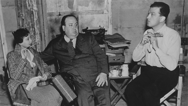 Alfred Hitchcock with Sylvia Sidney and Oscar Homolka on the set of Sabotage