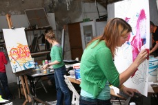 Adults at a painting workshop at Tate St Ives