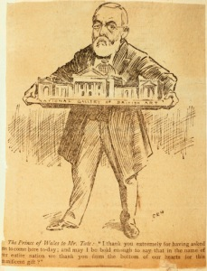 Henry Tate holding a model of Tate Gallery, Pall Mall Gazette, 21 July 1897